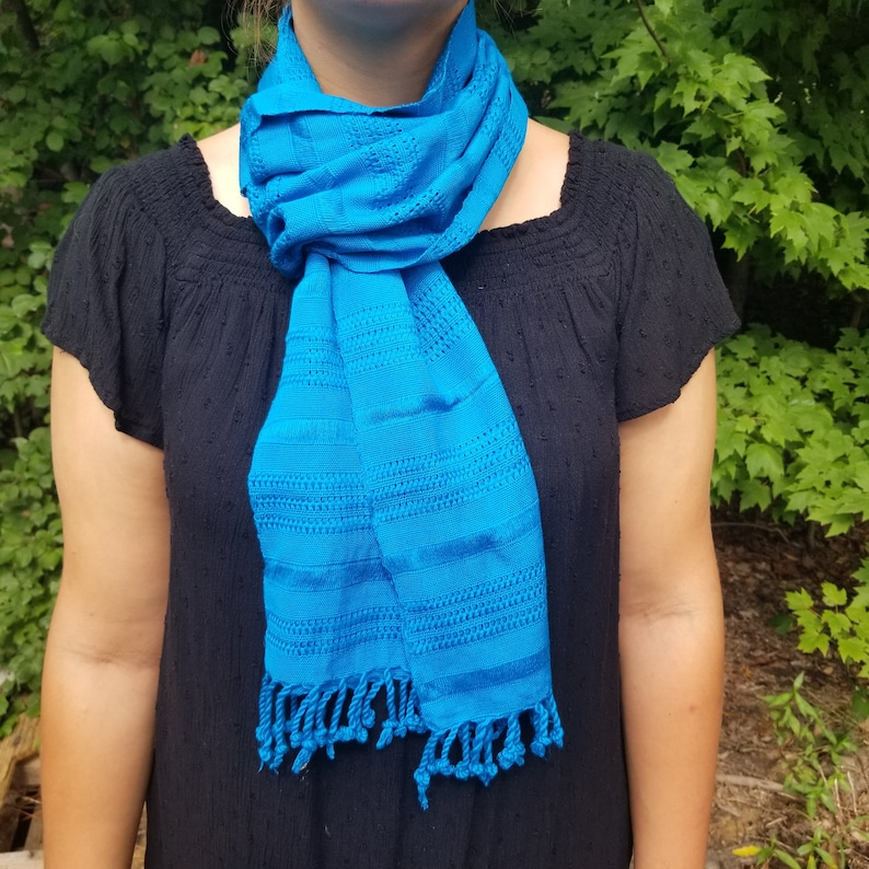 Hand Woven Blue Scarf from Guatemala image 0