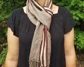 Hand Woven Brown and White Scarf from Guatemala