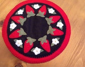 Hand Appliqued Wool Felt Strawberry Candle Mat, Wool Penny Rug, Felt, Centerpiece, Summertime