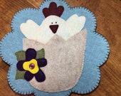 Chick Penny Rug, Felt Candle Mat, Centerpiece, Table Mat, Springtime rug, Table protector, Farmhouse Decor, Handmade rug mat, Home Decor