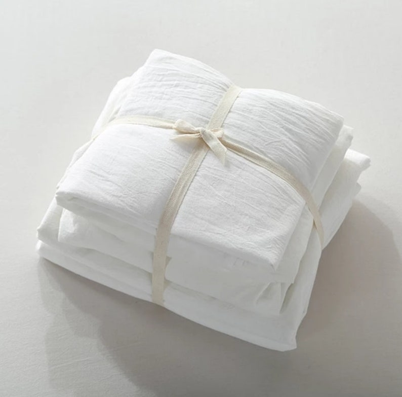 Flax bedding Quality bedroom QUEEN Soft Flax Linen New listing at BGD. Discontinued Line Flax Sheets White Linen Sheet Set