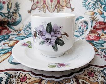 Vintage Porcelain Teacup and Saucer Mismatched Set.