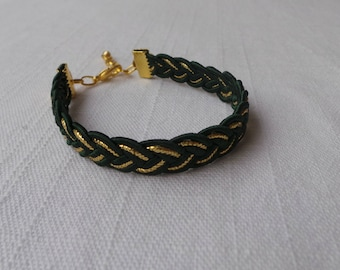 Pine Green and gold braided bracelet