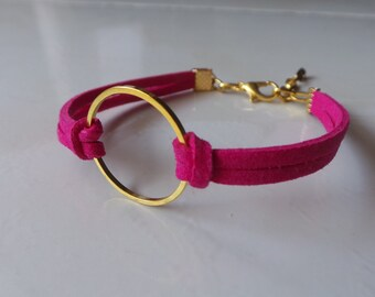 Bracelet ring in gold and Fuchsia suede women