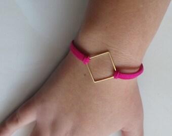 Bracelet diamond gold and Fuchsia suede women