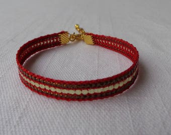 woven red sequined Gold Bracelet