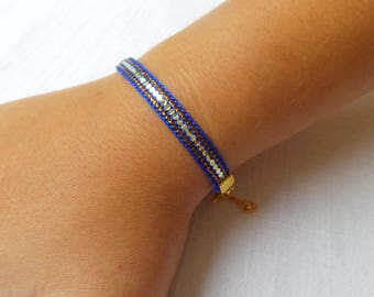 Handwoven small sequins Royal Blue and gold bracelet