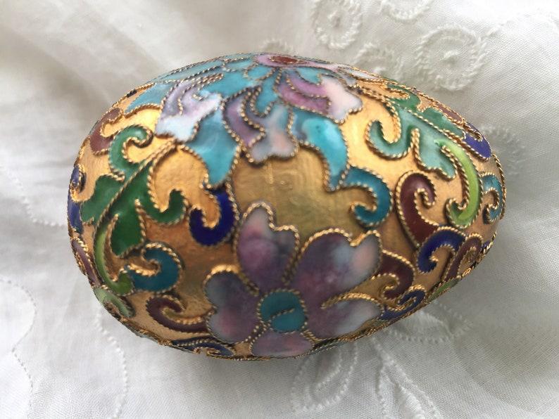 cloisonn\u00e9 golden egg and stand