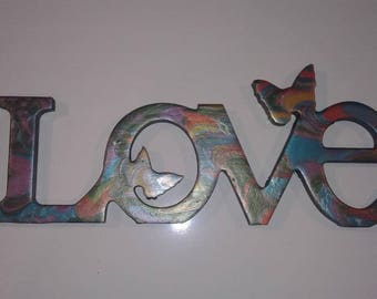 Rainbow Swirl Abstract LOVE sign