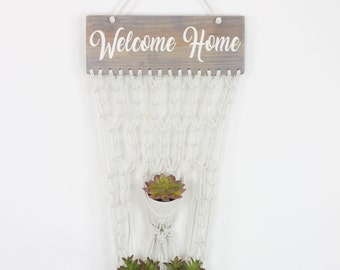 Welcome Home Wood Sign ~ Welcome Sign Macramé Plant Holder Macramé Wall Hanging Home Decor Boho Decor Wall Decor Entry Way Bohemian Décor