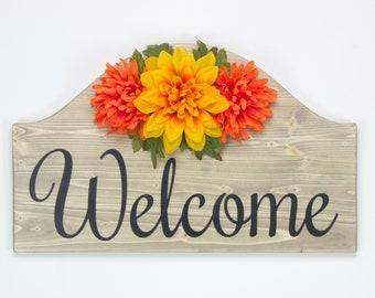 Welcome Wood Sign ~ Home Décor Wall Décor Entry Way Floral Décor Silk Flowers Floral Arrangement Flower Arrangement