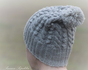 beanie,cable, hand made, knitwear, knitted, wool, pipo, myssy, palmikko, käsintehty, villa, neule