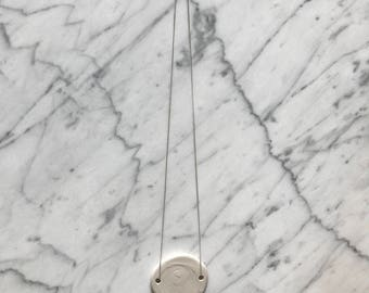 White asymetric ceramic pendant on silver chain | modern jewellery | contemporary | gift for her