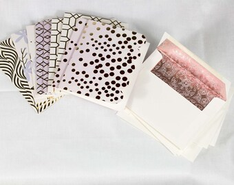Decorative Foil Note Cards with Lined Envelopes - Set of 10 cards and envelopes