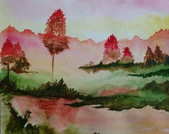 Watercolor landscape, trees, waterway