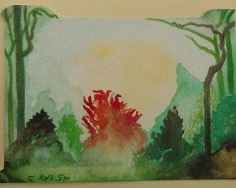 Burning Bush Watercolor landscape