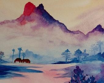 Watercolor landscape, seascape, mountainscape