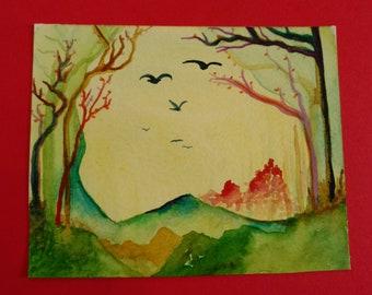 Sunny Day Watercolor Landscape