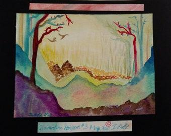Quarantine Horizon #3, Watercolor landscape, mystical, bright