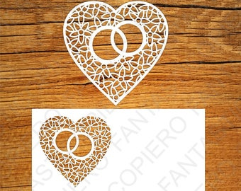 Heart With Wedding Rings SVG Files For Silhouette Cameo And Cricut Invitation Svg Cutting