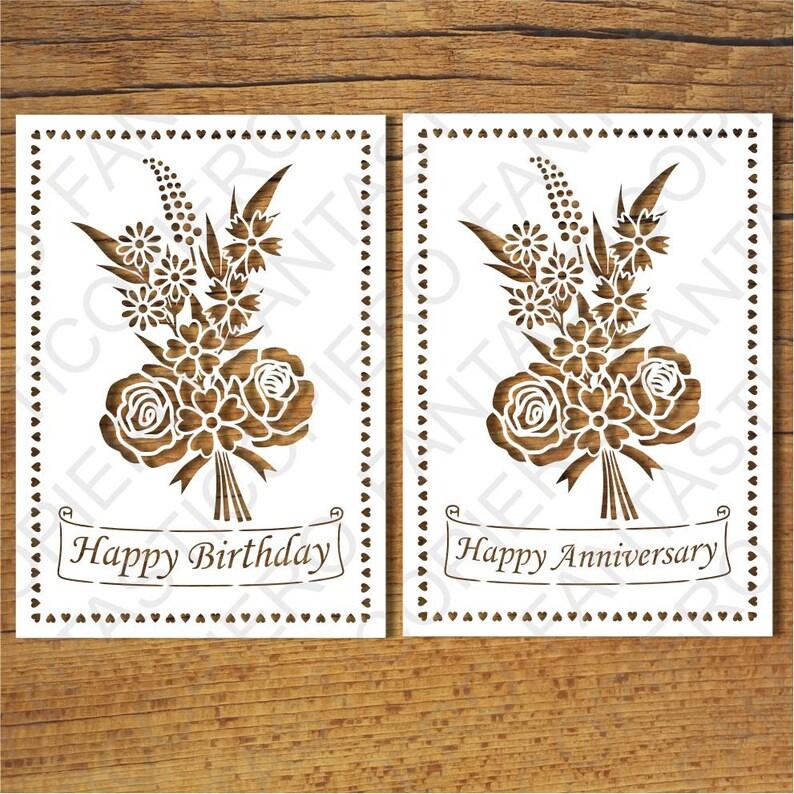Happy Birthday Happy Anniversary Greeting Card Blank Svg Etsy