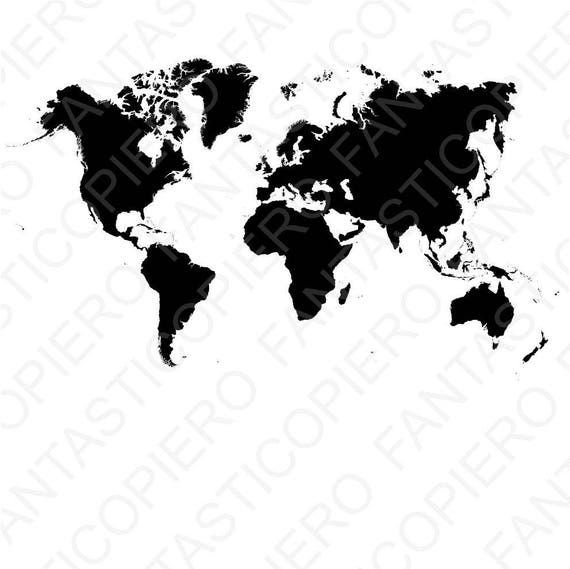 World Map Svg File For Silhouette Cameo And Cricut World Map Etsy