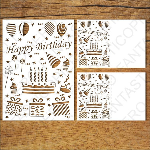 Happy Birthday Card Svg Files For Silhouette Cameo And Cricut Etsy