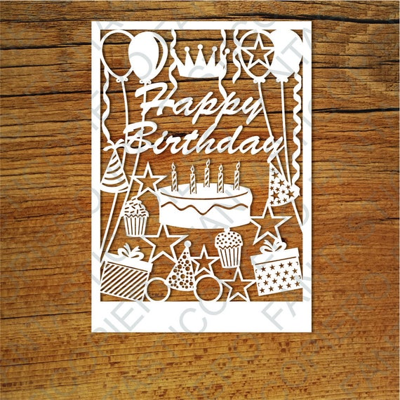 Happy Birthday Card SVG Files For Silhouette Cameo And Cricut