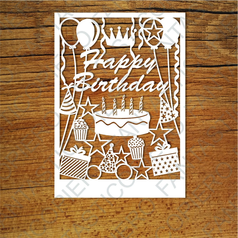 Download Happy Birthday card SVG files for Silhouette Cameo and ...