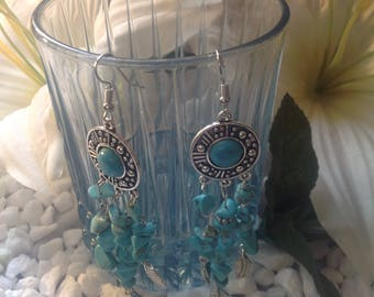 Turquoise earrings with feathers silver