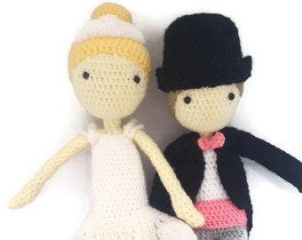 Handmade crochet amigurumi wedding gift doll