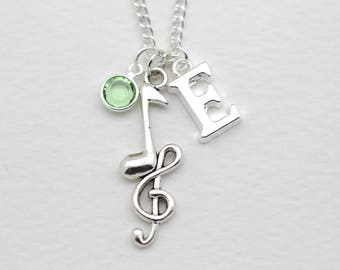 Personalised Music Necklace, Musician Gift, Music Notes Necklace, Initital Necklace, Charm Necklace, Swarovski Crystal
