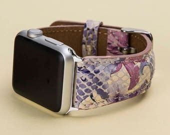 Apple Watch Band 38mm, 42mm Colorful Leather Strap, Man or Women, Handmade, Lazer, Initials, Gift Wrapping Avaliable, Naturel, Soft Leather