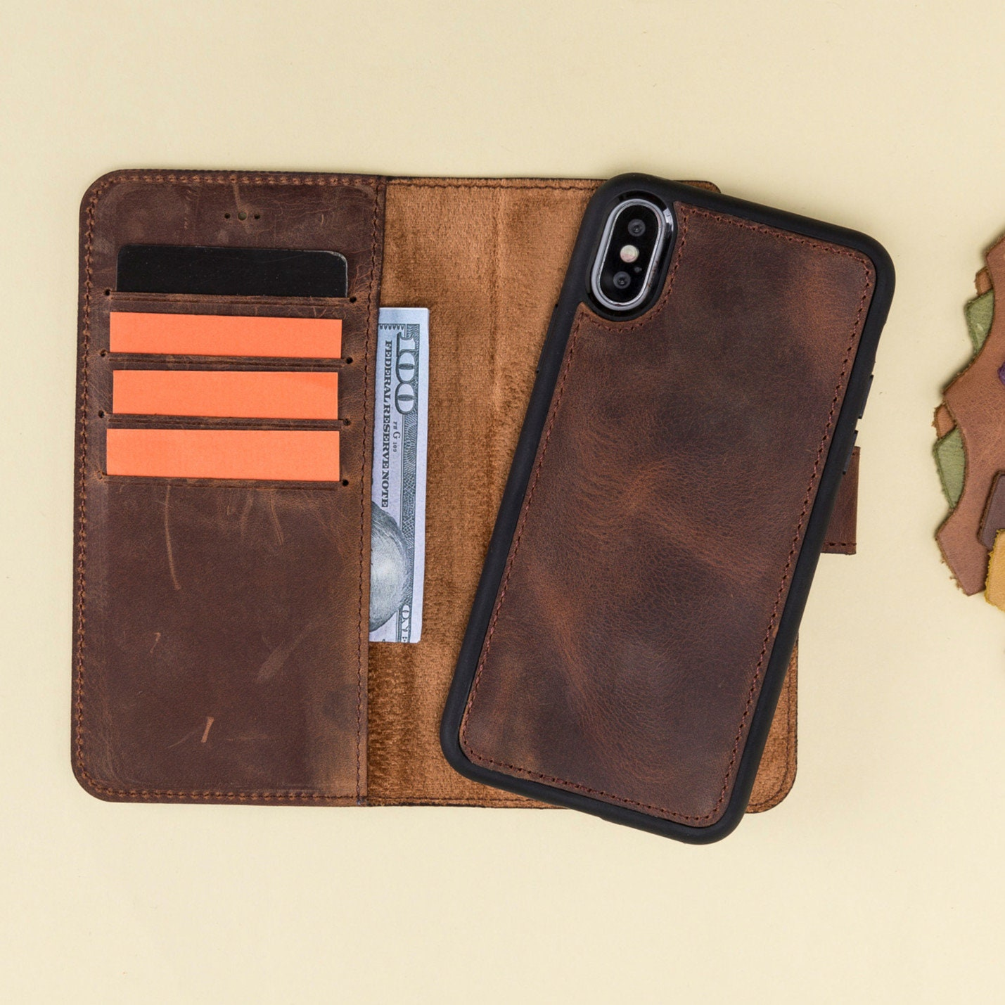 newest collection 0b26c 0b67a Leather Case for iPhone X, Brown Phone X Cover, Women or Man, Detachable  Magnetic, Mobile Case, Laser, Initials, Gift Wrapping Avaliable