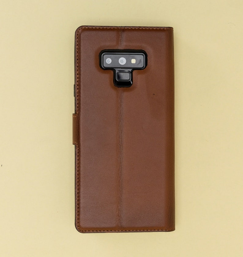 a7d52930946c Galaxy Note 9 Magnetic Detachable Wallet Case Genuine Leather Brown Purple  Red Black Navy Blue Personalization Avaliable EXPRESS SHIPPING