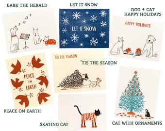 holiday card 10 pack you choose the mix set of ten letterpress christmas cards handmade stationery for gifts