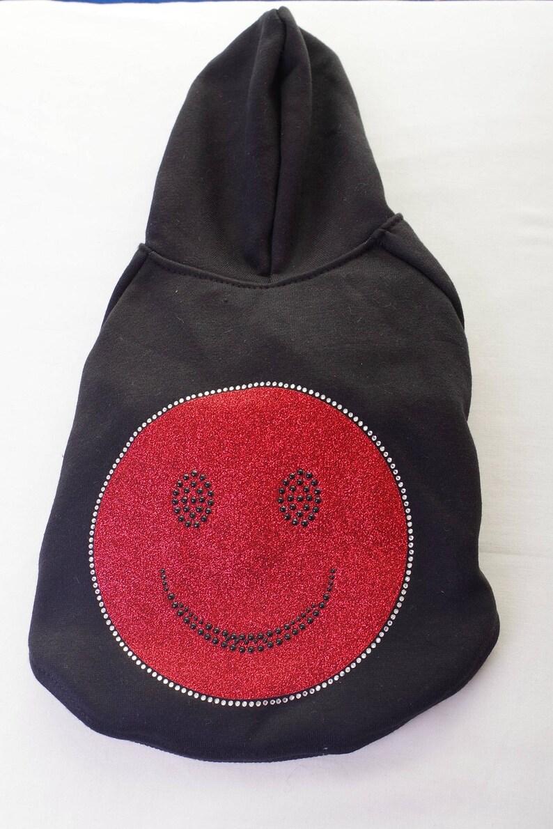 Red Happy Face Rhinestone Dog Hoodie