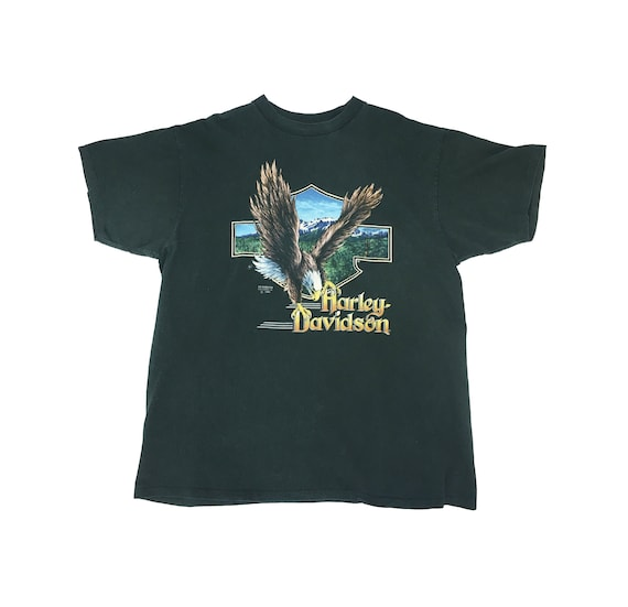 Harley Davidson Eagle Tshirt /Mens XL/ Forest Green/ 1990s Paul Smith