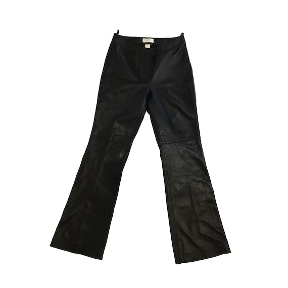 90s Black Leather Pants / Flared/ Stitching Detail/ Size 6/ Vintage