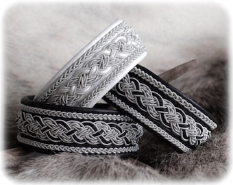 Woven and braided leather bracelet, Viking and Celtic jewelry, Nordic jewellery, Satin cord, Wide cuff bracelets for women, Cute girls gift