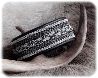 Black leather bracelet, Soft leather bracelet, Patina jewelry, Braided leather bracelet, Pewter bracelet, White leather cuff, Couples gift