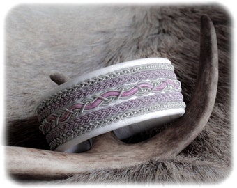White leather bracelet, Soft leather bracelet, Patina jewelry, Braided leather bracelet, Pewter bracelet, Pink leather cuff, Couples gift