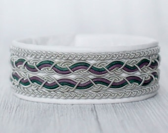 White leather bracelet, Aurora Borealis jewelry, Northern lights bracelet, Wide leather cuff bracelet for women, Unique gifts for her