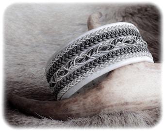 White leather bracelet, Soft leather bracelet, Patina jewelry, Braided leather bracelet, Pewter jewelry, Black leather cuff, Couples gift
