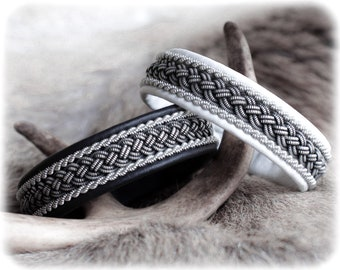 Black leather cuff, Bangle bracelets for men, For small wrist, For large wrist, Mens gift, Woven and braided, Patina Jewelry, Viking cuff