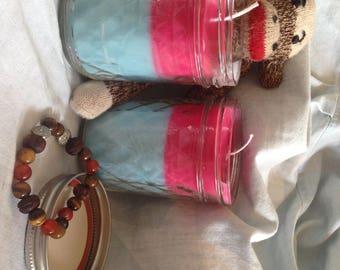 Pink and Blue Mason Jar Candles