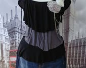 Up-cycled, Altered Clothes, Denim Shorts, Cap Sleeve T Shirt, Embellished, Lace, Flowers, Black, White, Gray