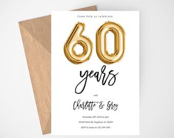 60th anniversary invitations etsy