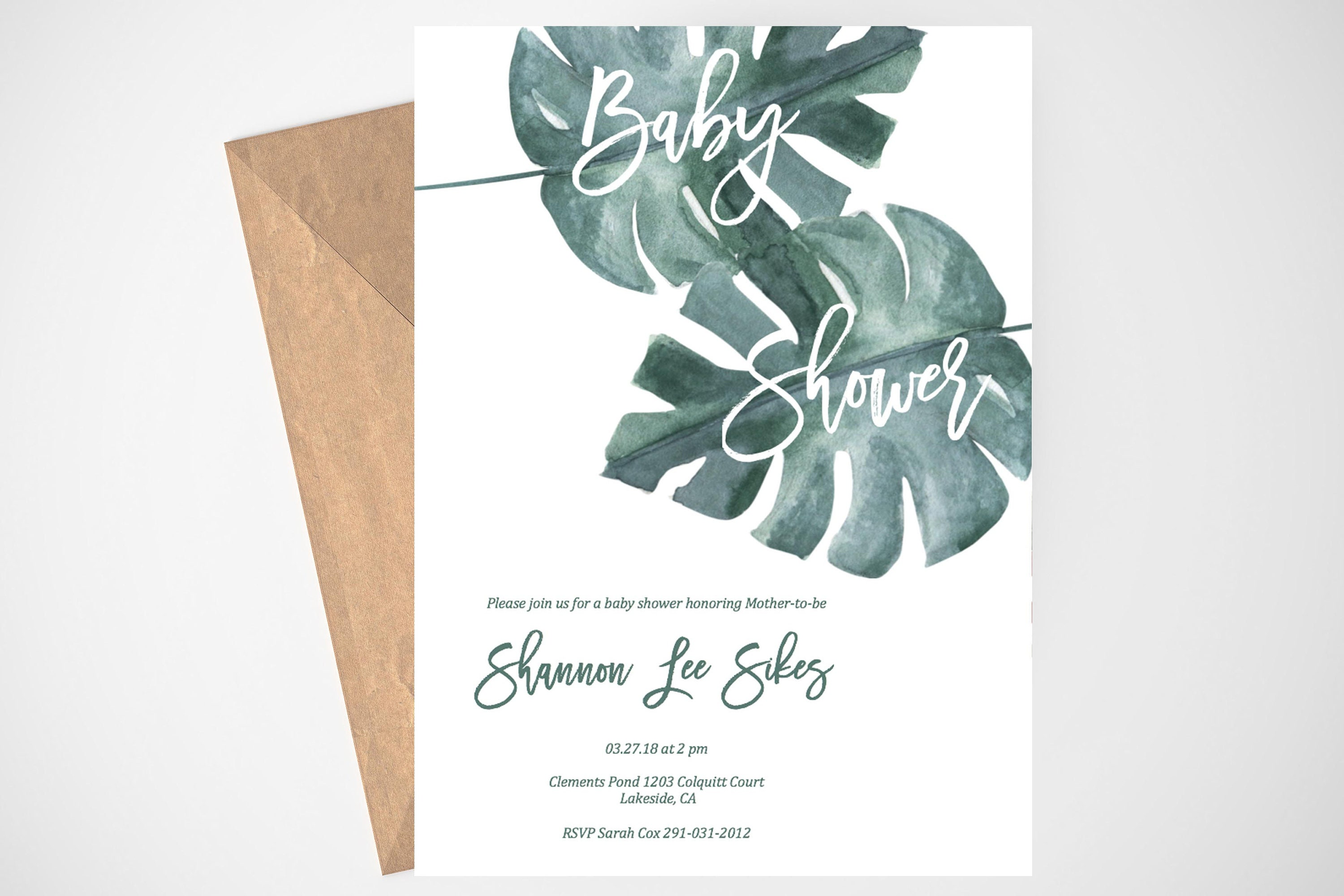 Tropical Leaves Baby Shower Invites Greenery Baby Shower Etsy
