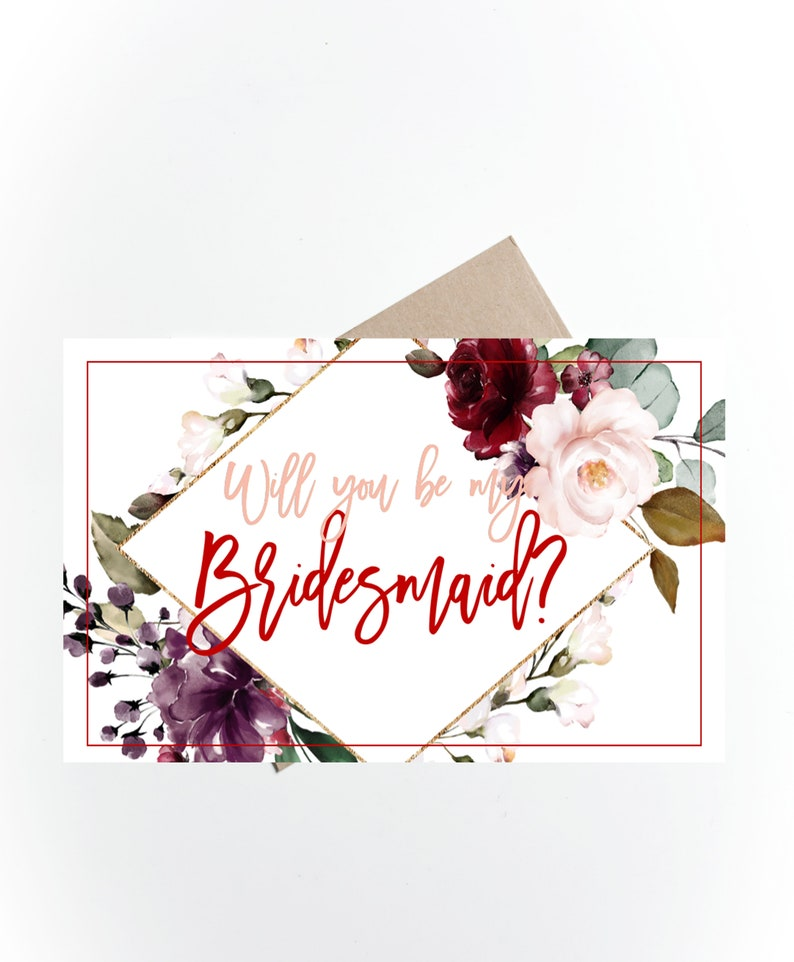 graphic relating to Printable Bridesmaid Cards identified as Printable Will your self be my Bridesmaid Card, Bridesmaid Proposal Card, Bridesmaid Reward Box, Burgundy, Floral, Bridesmaid Playing cards,Immediate Obtain